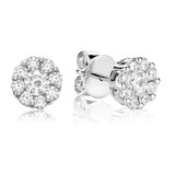 Earrings for woman - 10K white gold & Diamonds T.W. 0.015 Carat