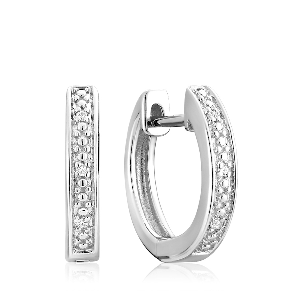 Boucles d'oreilles huggies - Or blanc 10K & Diamants totalisant 0.04 Carat