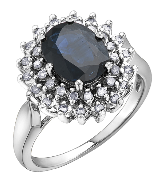 Ring in 10K white gold set with diamonds and a genuine sapphire