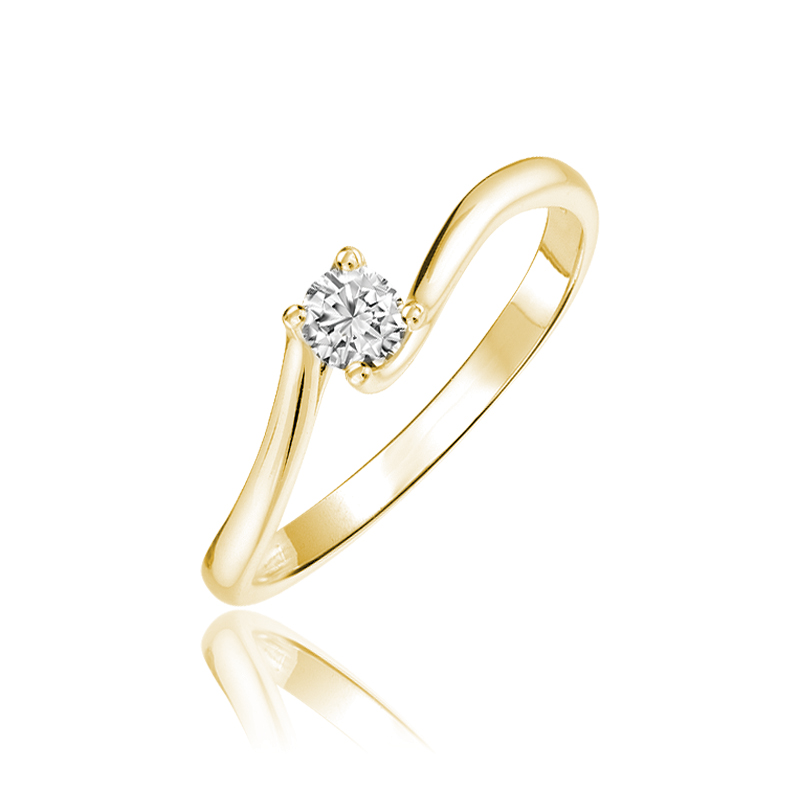Engagement ring - 10K yellow Gold & Solitary diamond T.W. 0.10 Carat