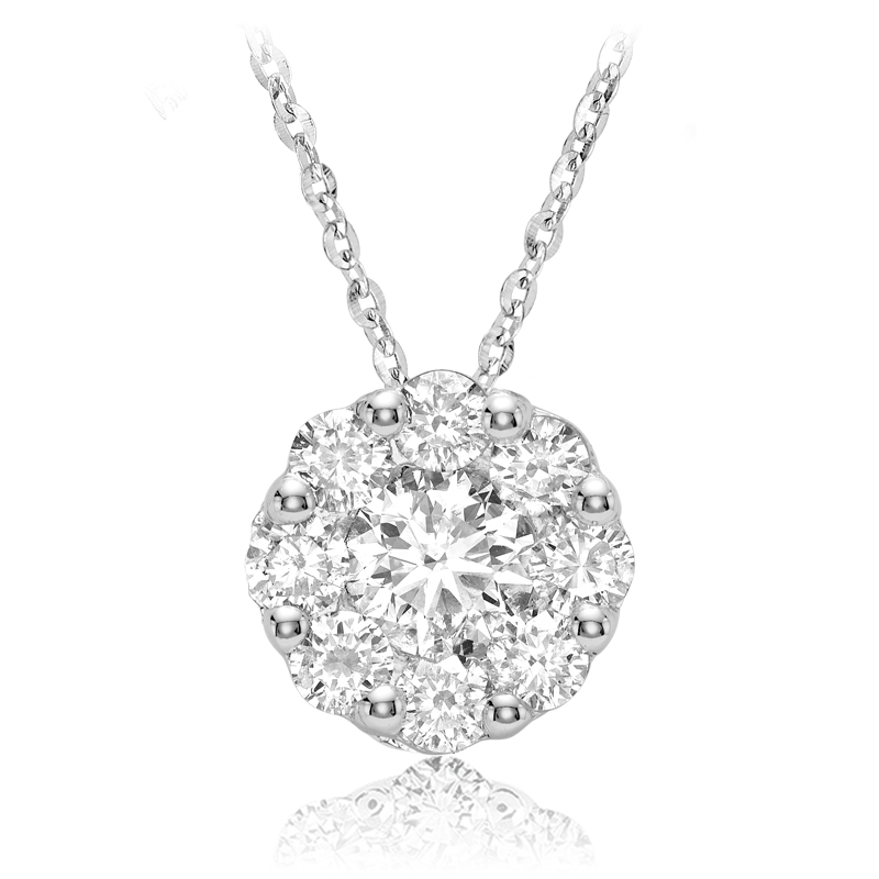 Pendentif fleur pour femme - Or blanc 10K & Diamants