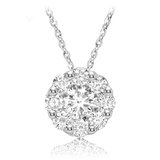 Flower pendant for woman - 10K white gold & Diamonds