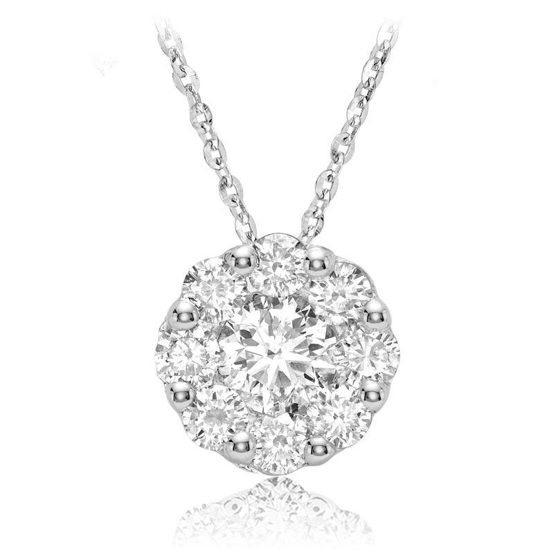 Flower pendant for woman - 10K white gold & Diamonds
