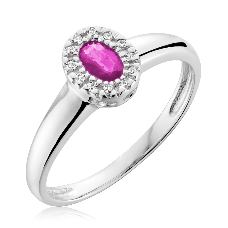 Ring for woman - 10K white gold with Diamonds & Pink Quartz