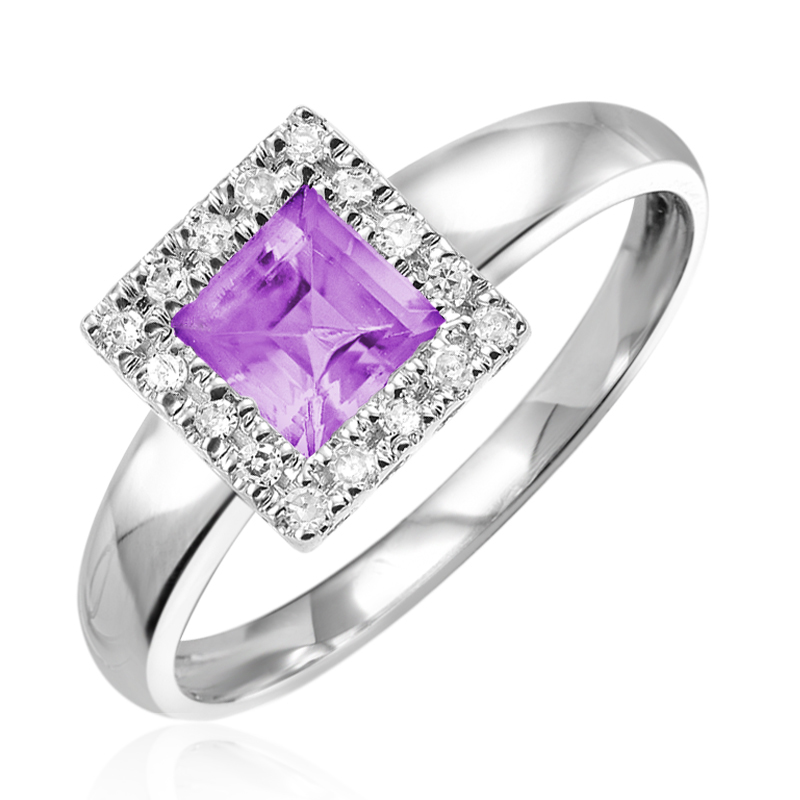 Ring in 10K white gold set with diamonds and amethyst