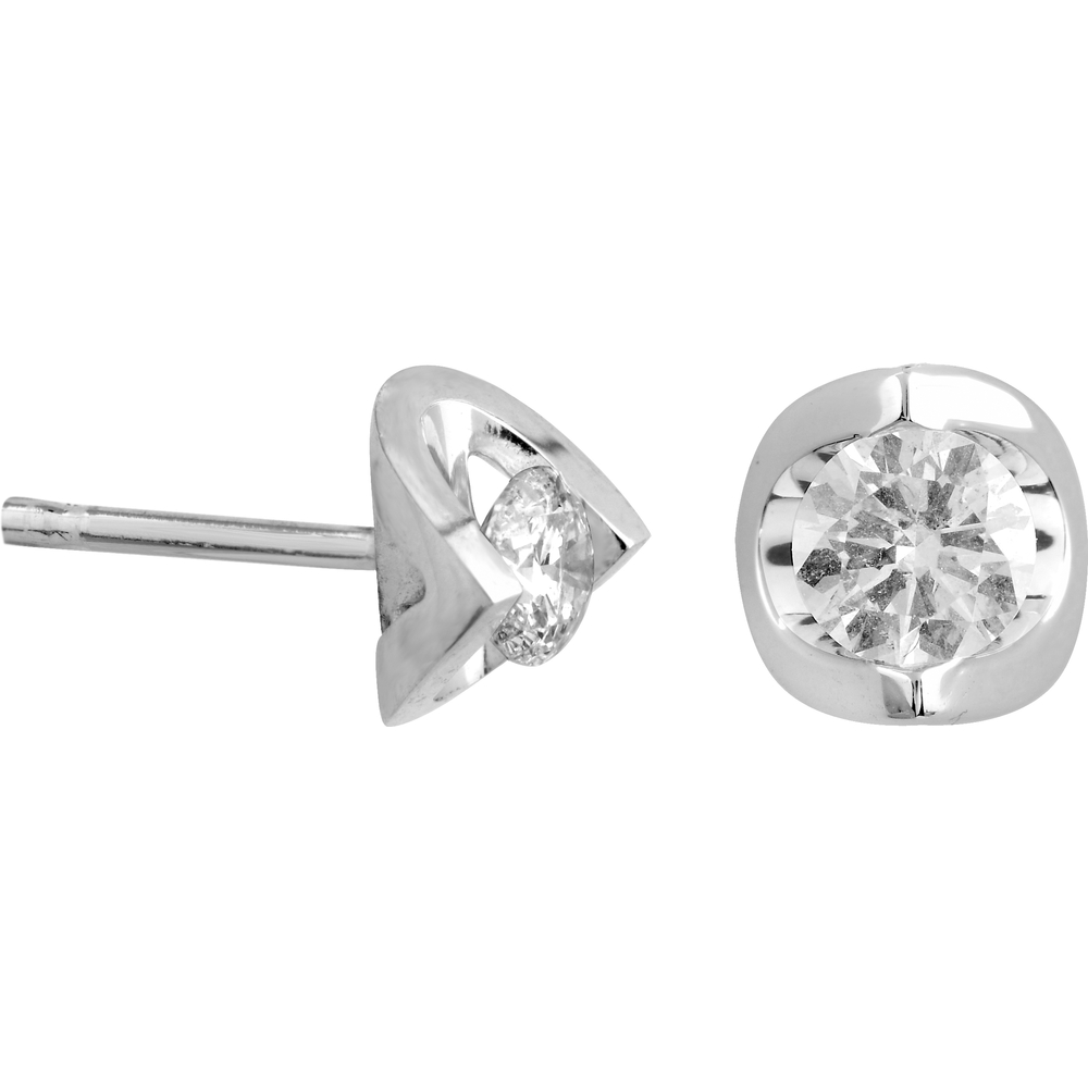 Boucles d'oreilles fixes - Or blanc 14K & Diamants totalisant 10pts
