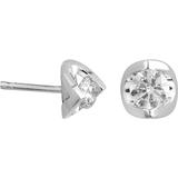 Boucles d'oreilles fixes - Or blanc 14K & Diamants totalisant 10pts