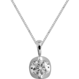 Diamond solitaire pendant 0.05 Carats T.W. Clarity:I Color:GH - in 14K white Gold - chain included - small enough for a child
