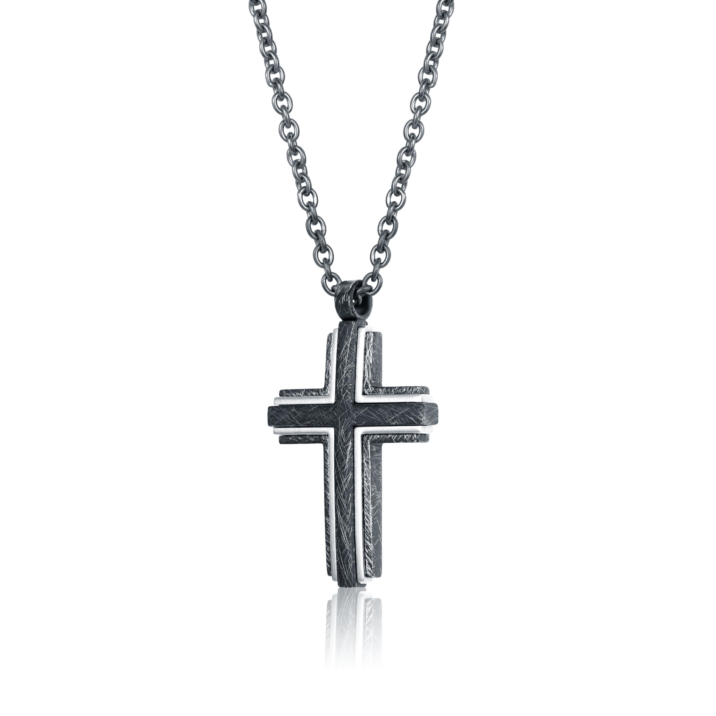 Cross pendant - Black stainless steel