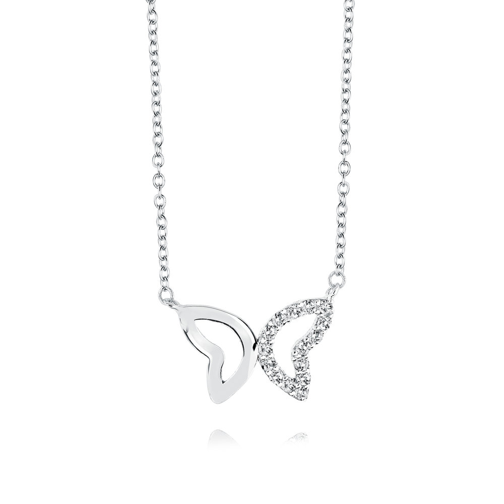 Butterfly necklace for woman - Sterling silver & Cubic zirconia