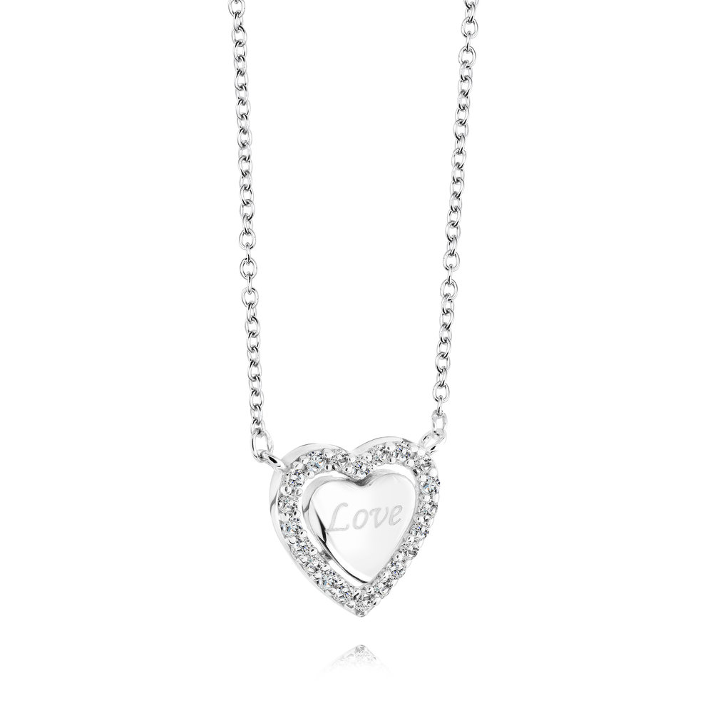 Heart necklace for woman - Sterling silver & Cubic zirconia