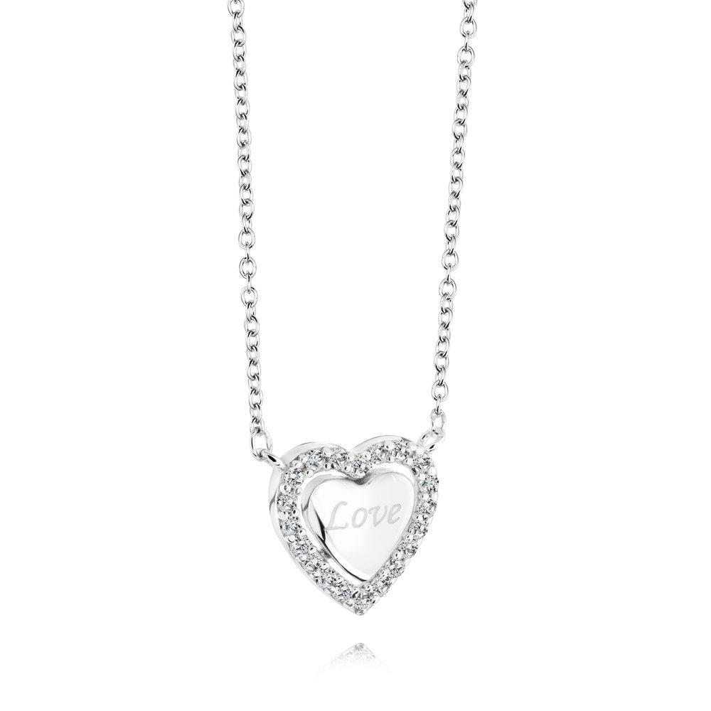 Collier coeur pour femme - Argent sterling & Zircons cubiques
