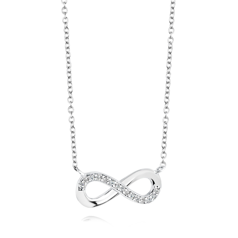 Infinity necklace for woman - Sterling silver & Cubic zirconia