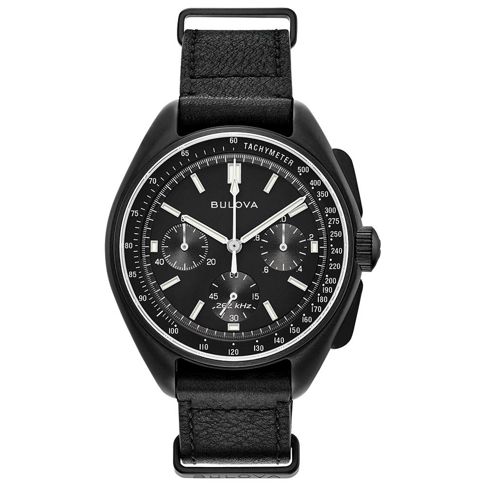 Montre Bulova pour hommes - Bracelet de style OTAN en cuir noir