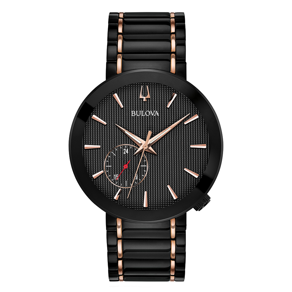 Bulova Watch for Men - Black IP and rose gold-­tone stainless steel bracelet