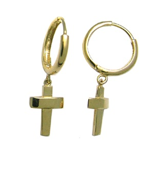 Hoop earrings with cross - 10K yellow Gold