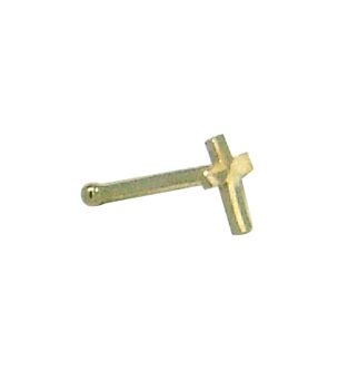 Cross nose stud - 10K yellow Gold