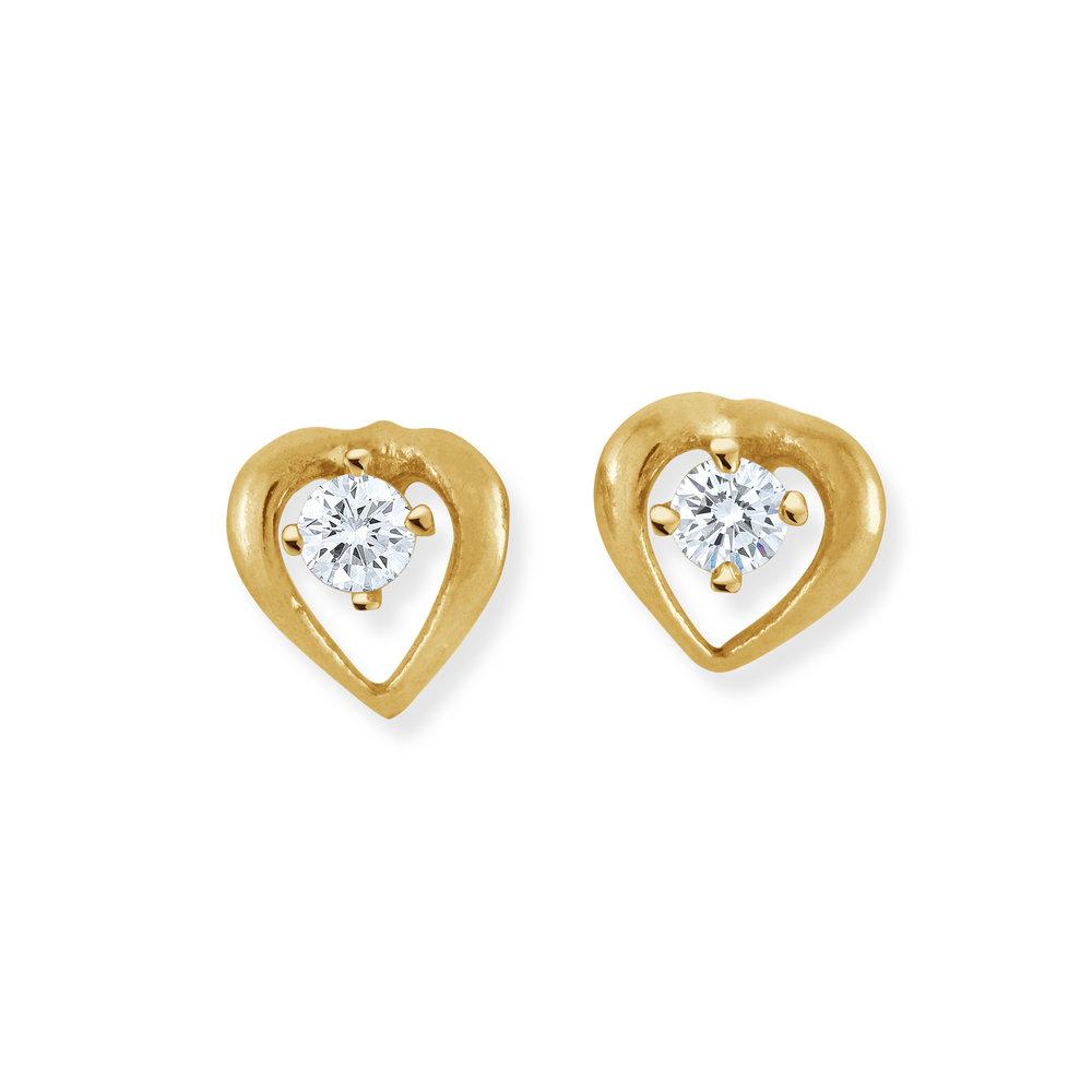 Boucles d'oreilles coeurs en or jaune 10K avec zircons cubiques