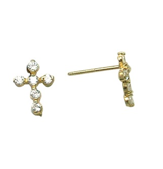 Cross earrings in 10K yellow gold with cubic zirconia