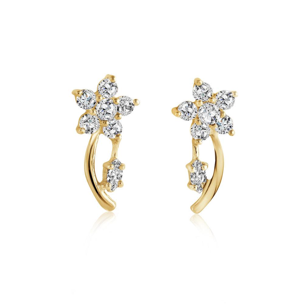 Boucles d'oreilles fleurs pour femme - Or jaune 10K & Zircons cubiques
