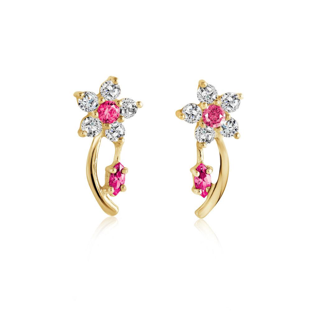 Boucles d'oreilles fleurs pour femme - Or jaune 10K & zircons cubiques (rouge-rosé et blancs)