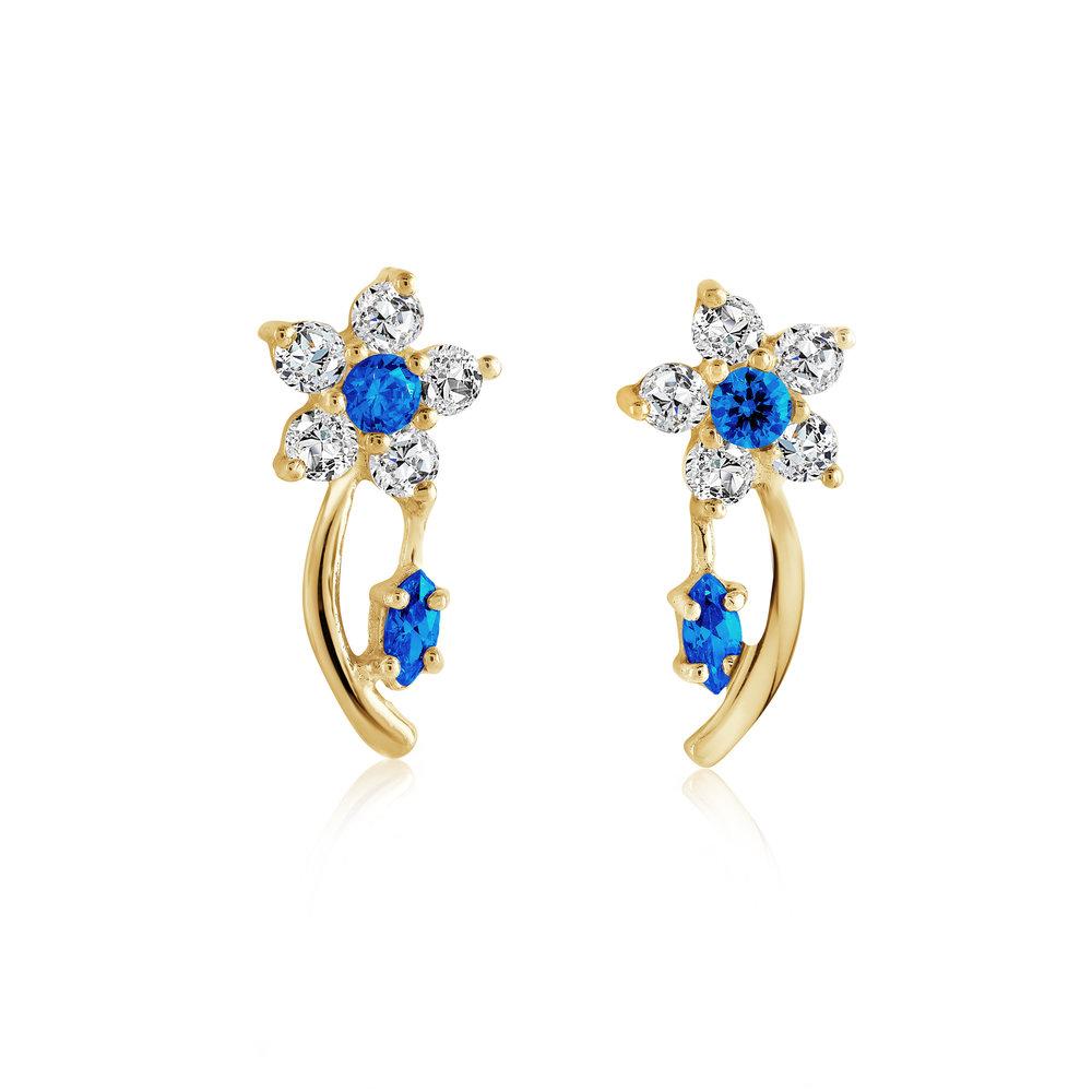 Boucles d'oreilles fleurs pour femme - Or jaune 10K & Zircons cubiques (bleu marine et blancs)