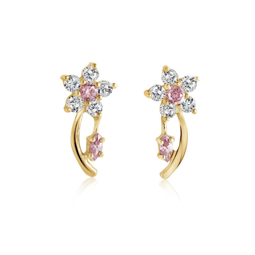 Boucles d'oreilles fleurs pour femmes - Or jaune 10K & Zircons cubiques (roses et blancs)