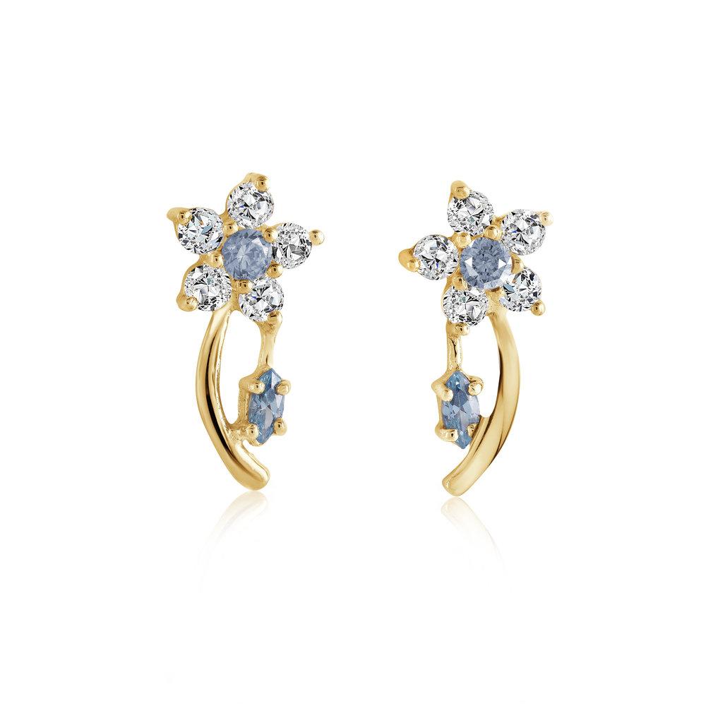 Boucles d'oreilles fleurs pour femme - Or jaune 10K & zircons cubiques (bleus et blancs)