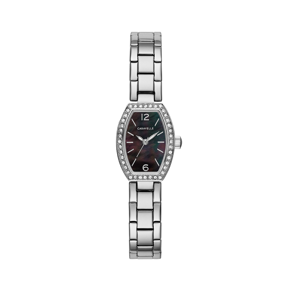 NY Watch for Women - Stainless steel & Black mother-of-pearl dial with 40 crystals on case