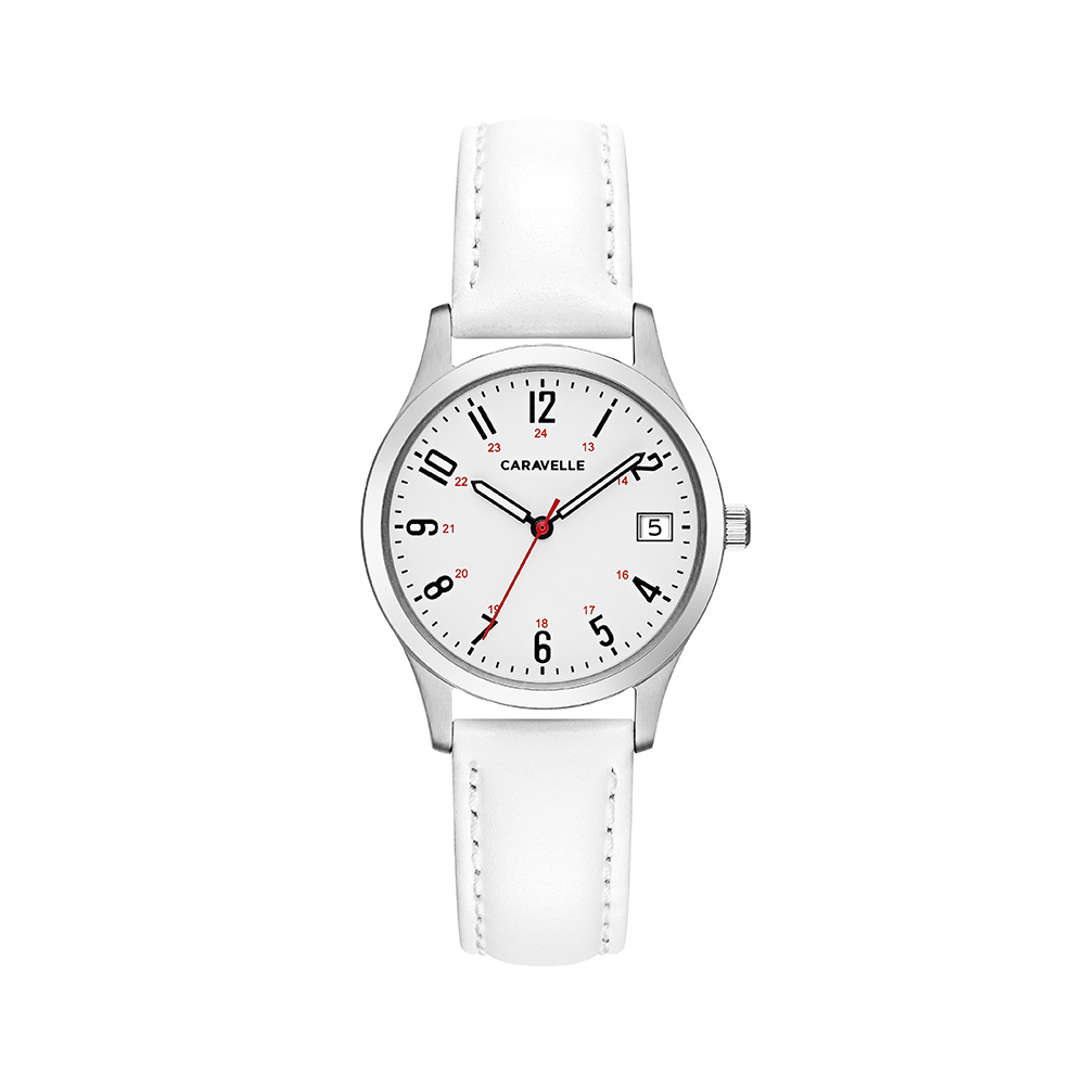 NY Watch for Women - Stainless steel case & White leather bracelet