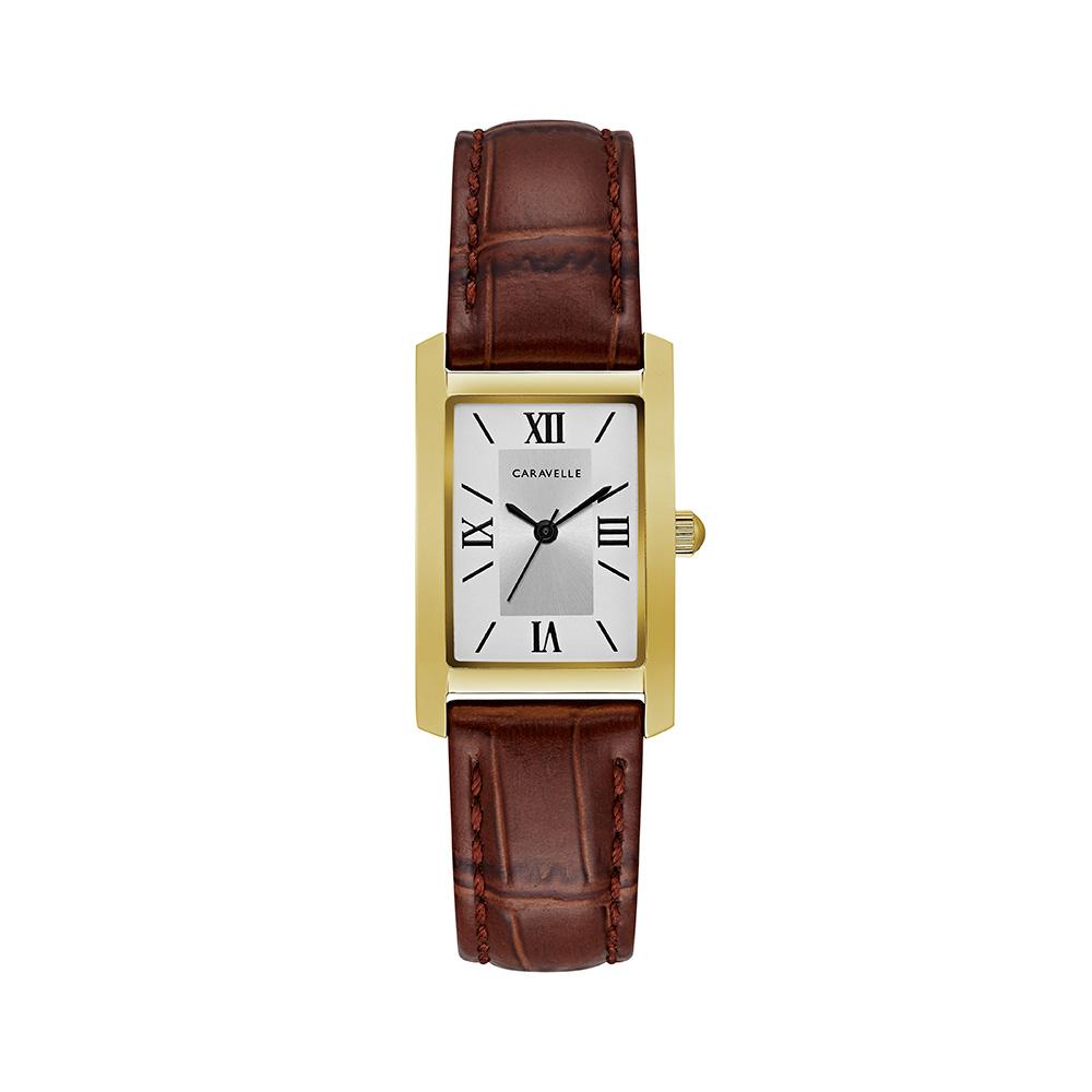 Montre Caravelle NY pour femmes - Boîtier carré en acier inoxydable doré & Bracelet en cuir brun à motif croco