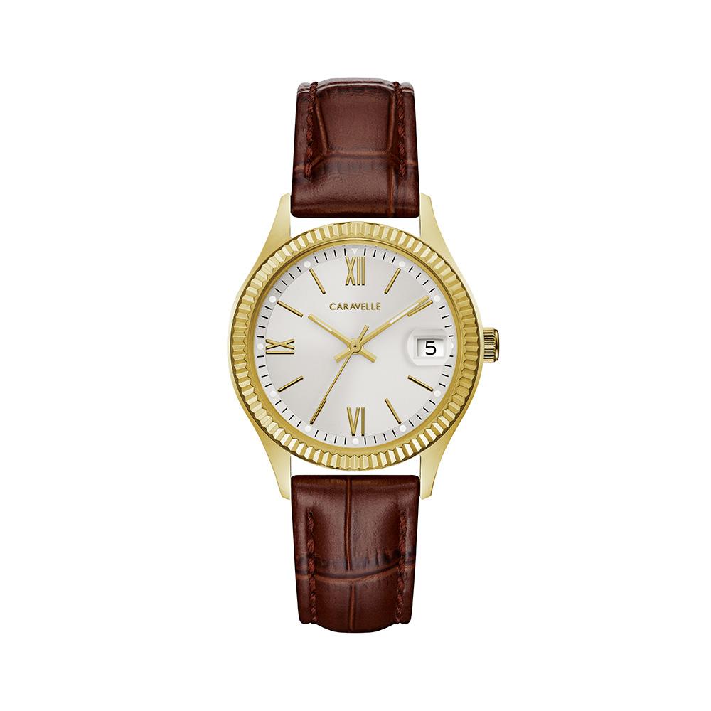 Montre Caravelle NY pour femmes - Boîtier en acier inoxydable doré & Bracelet en cuir brun à motif croco