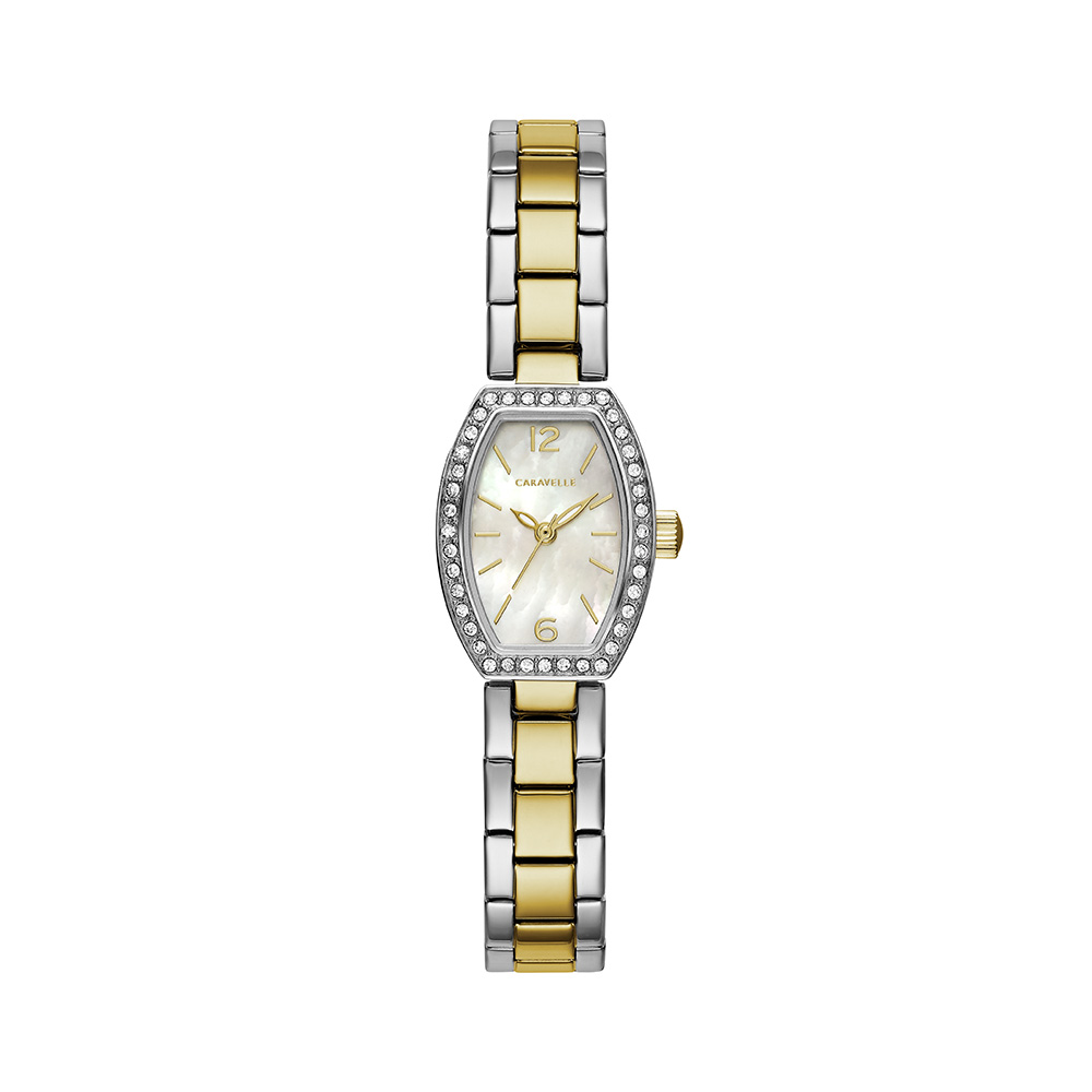 NY Watch for Women - 2-tone Stainless steel & White mother-of-pearl dial with 40 crystals on case