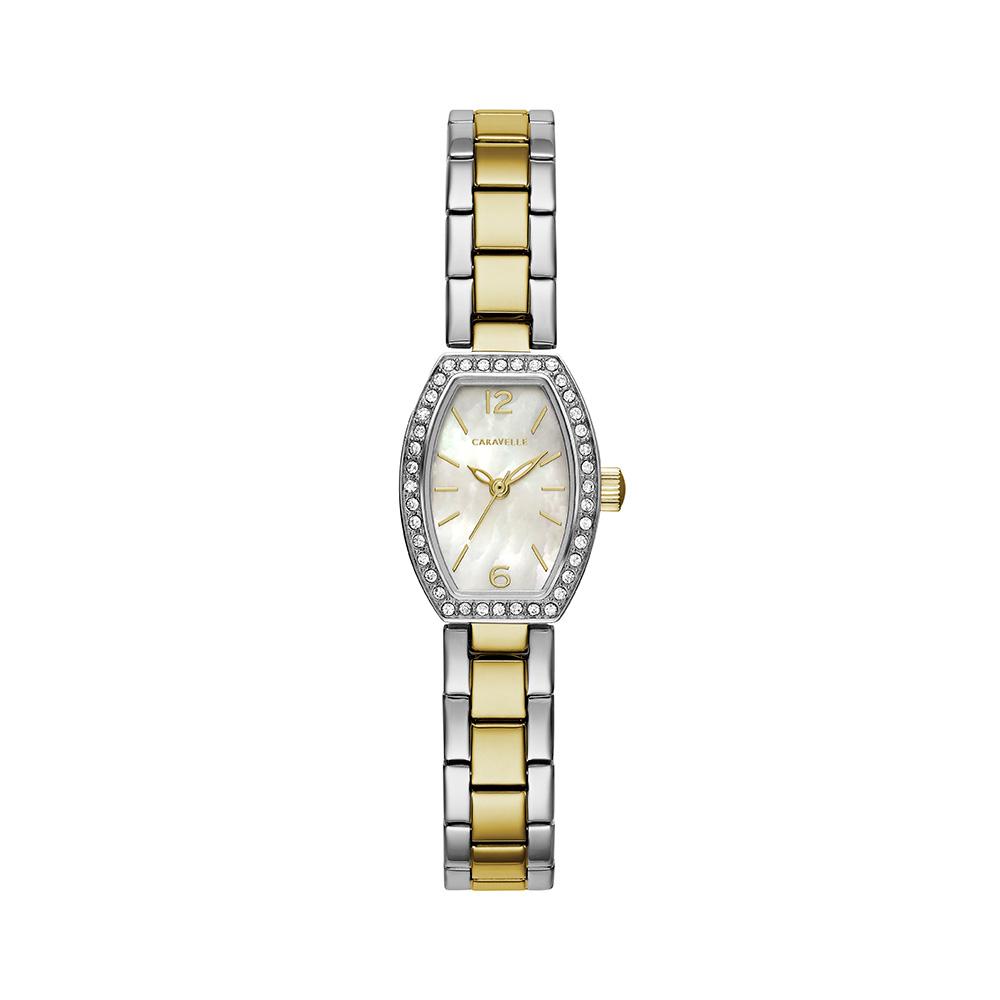 Montre Caravelle NY pour femmes - Acier inoxydable 2 tons & Cadran blanc nacré avec 40 cristaux sur le boîtier