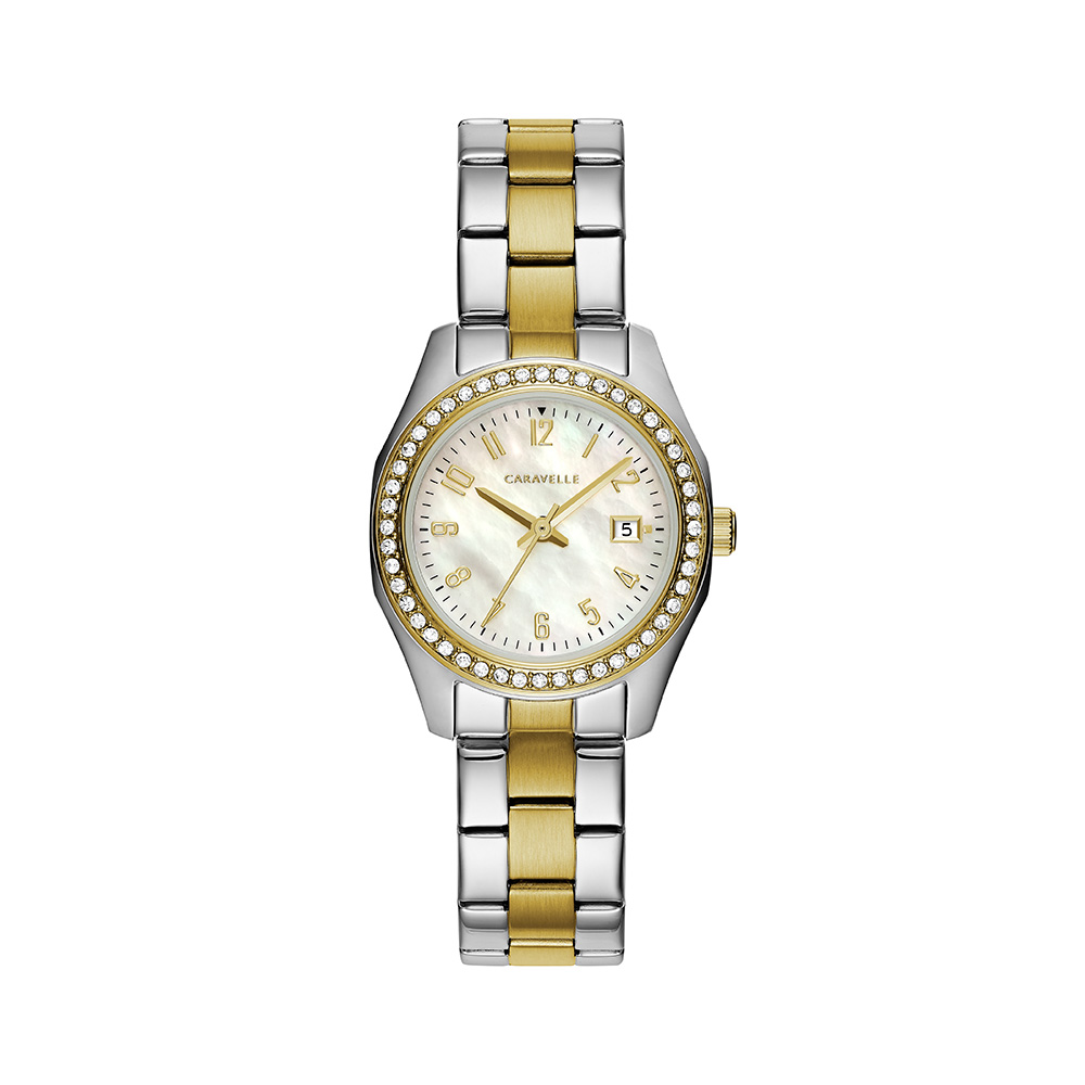 NY Watch for Women - 2-tone Stainless steel & Silver-white mother-of-pearl dial with 48 crystals on case
