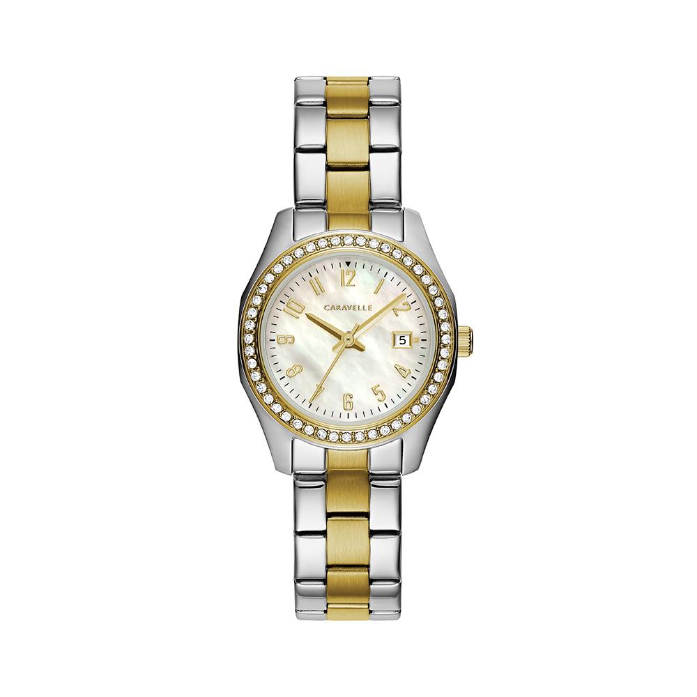 Montre Caravelle NY pour femmes - Acier inoxydable 2 tons & Cadran nacré blanc argenté avec 48 cristaux sur le boîtier