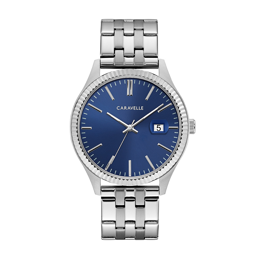 NY Watch for Men - Stainless steel & Graphic dark blue dial