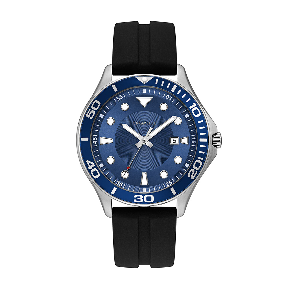 NY Watch for Men - Stainless steel & Black silicone strap