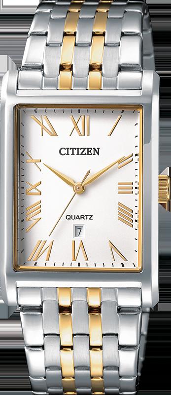 Montre Citizen au quartz pour hommes - Acier inoxydable 2 tons & Boîtier carré avec cadran blanc