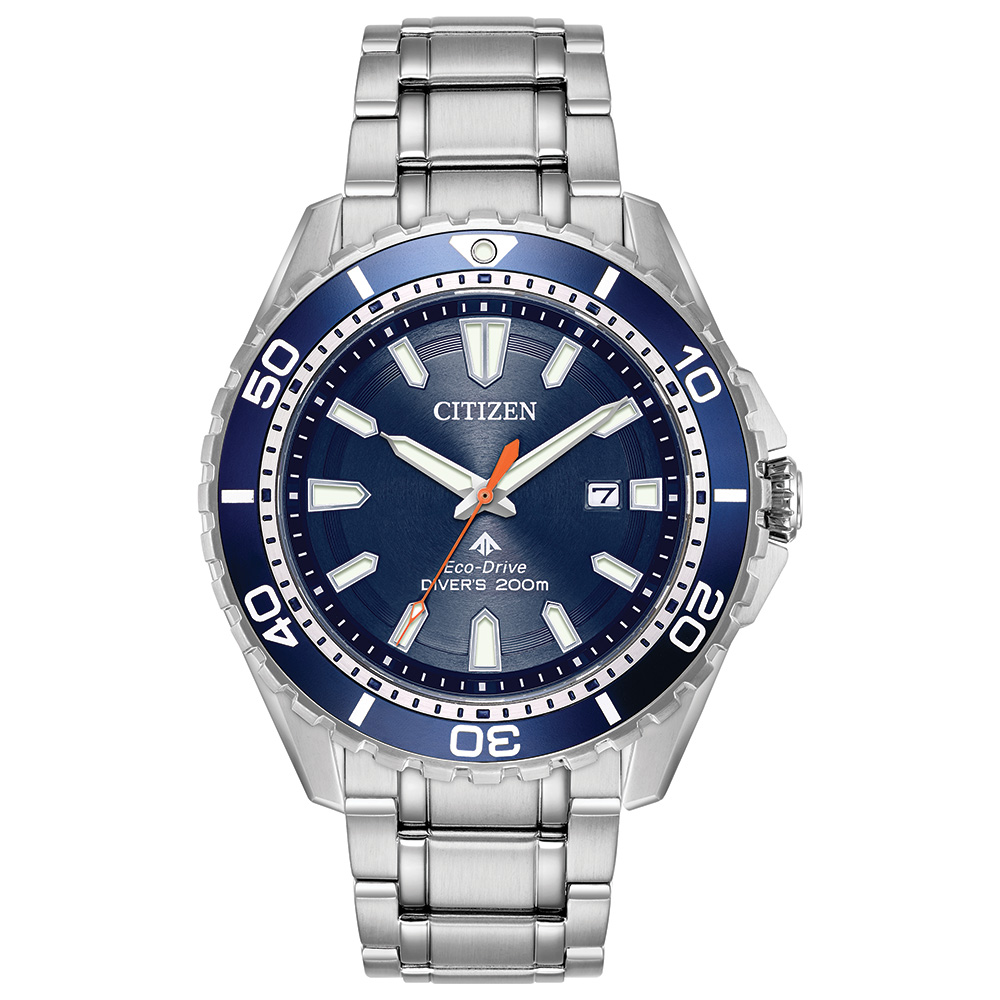 Eco-Drive Watch for Men - Stainless steel & Blue dial