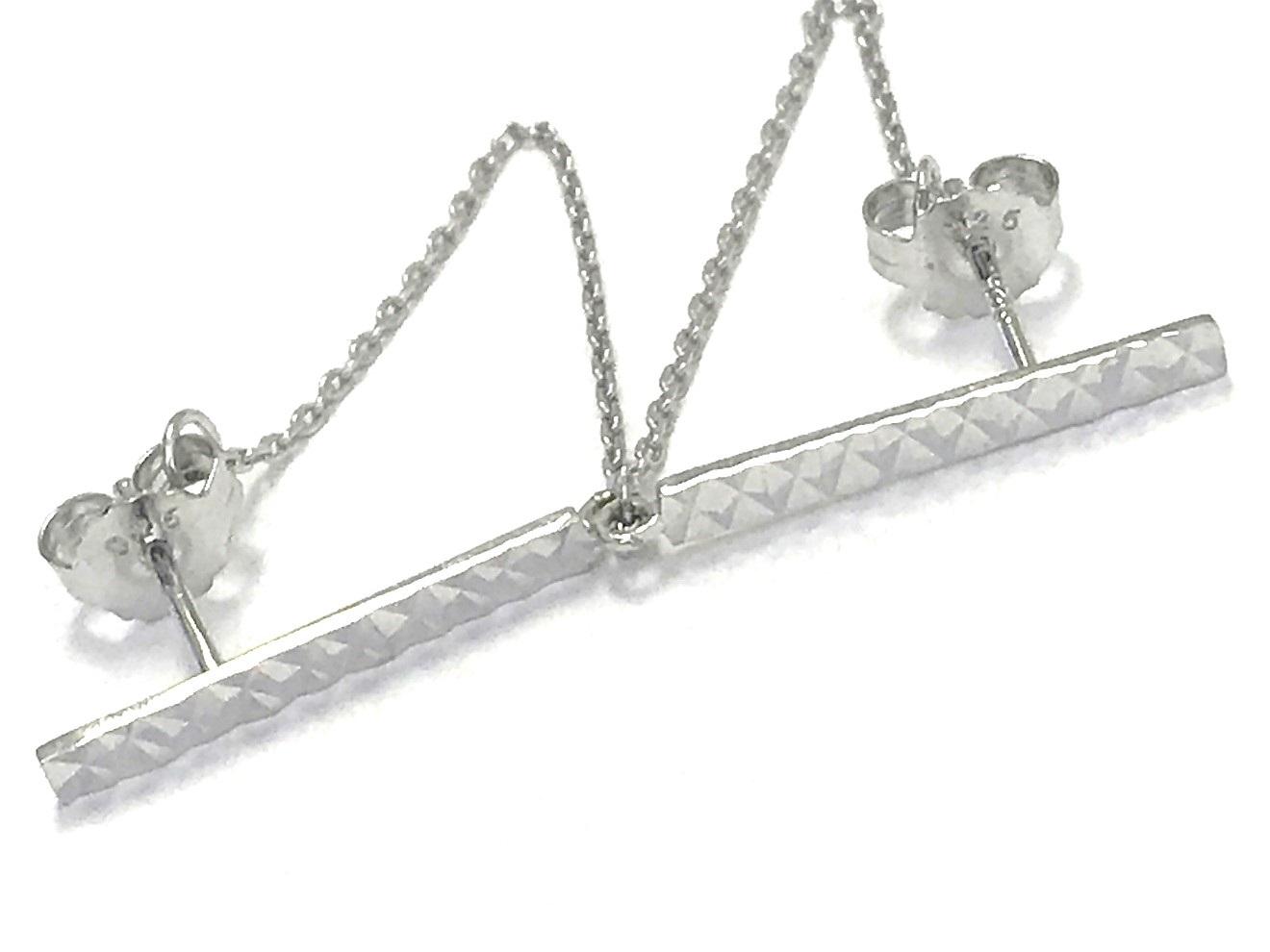 Boucles d'oreilles barre et chaîne - Argent sterling