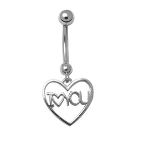I <3 You navel ring - Sterling silver