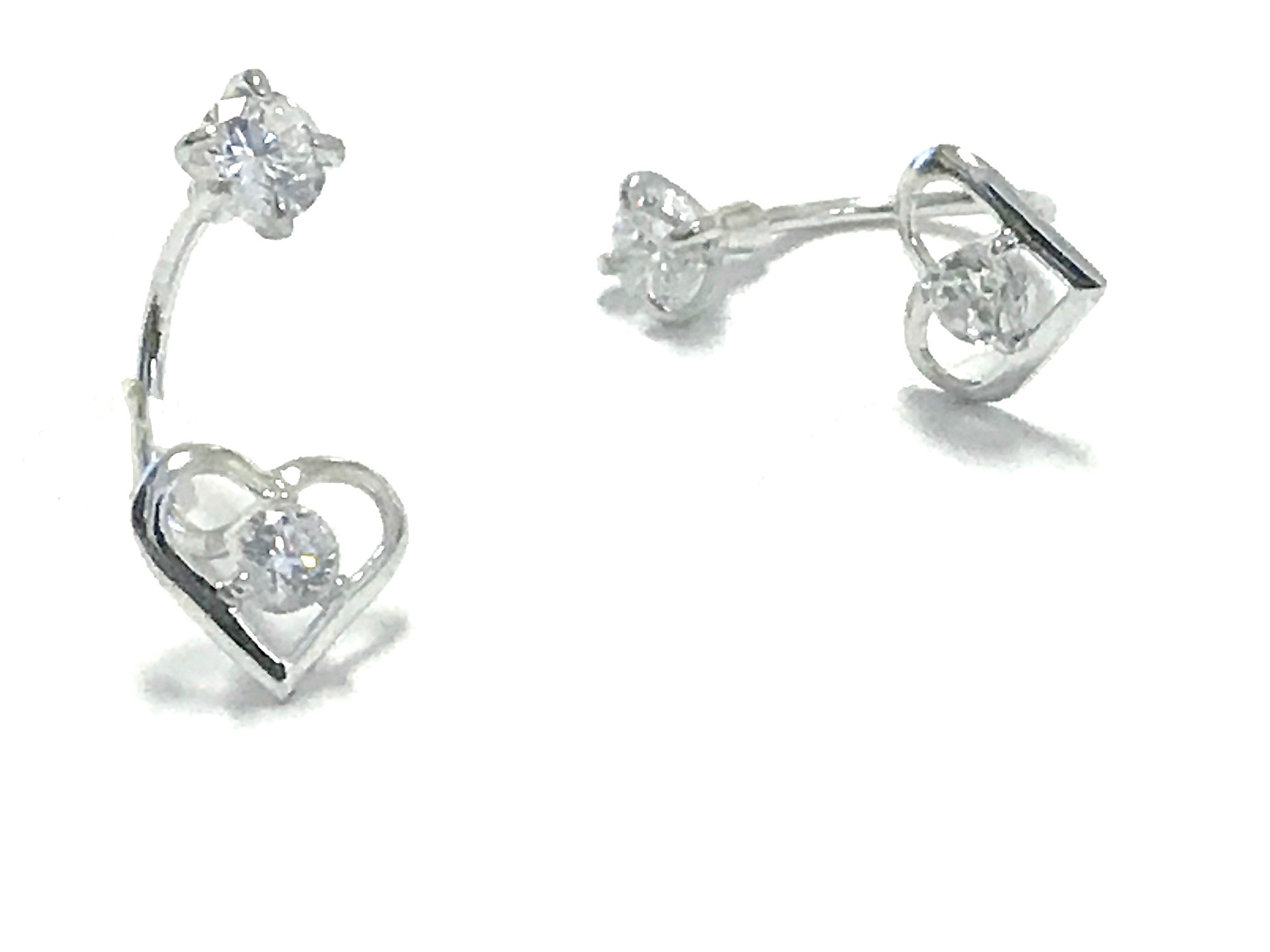 Boucles d'oreilles coeurs - Argent sterling & Zircons cubiques