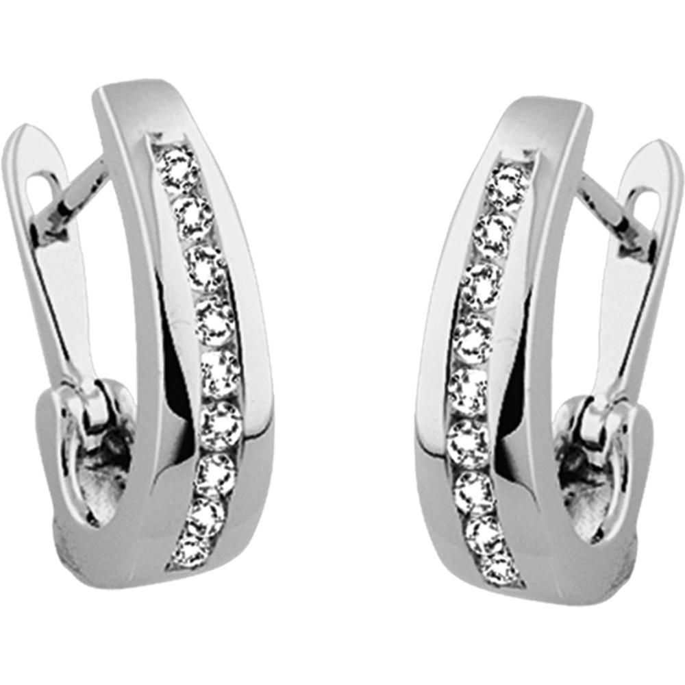 Boucles d'oreilles - Or blanc 10K & Diamants totalisant 0.25 Carat