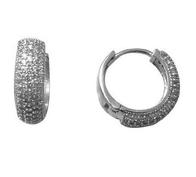 Boucles d'oreilles anneaux - Argent sterling & Zircons cubiques