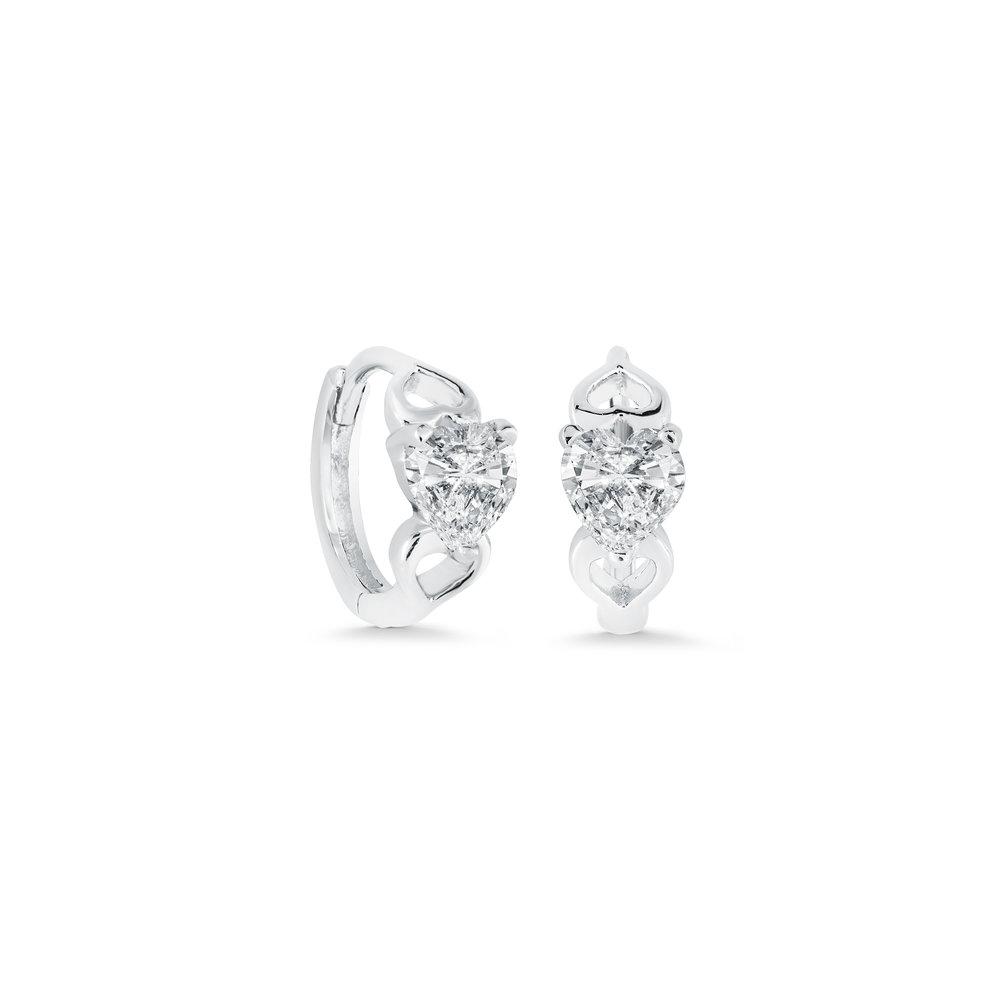 Boucles d'oreilles anneaux coeurs - Argent sterling & Zircons cubiques
