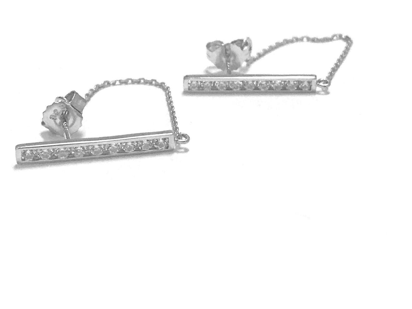 Boucles d'oreilles barre et chaîne - Argent sterling & Zircons cubiques
