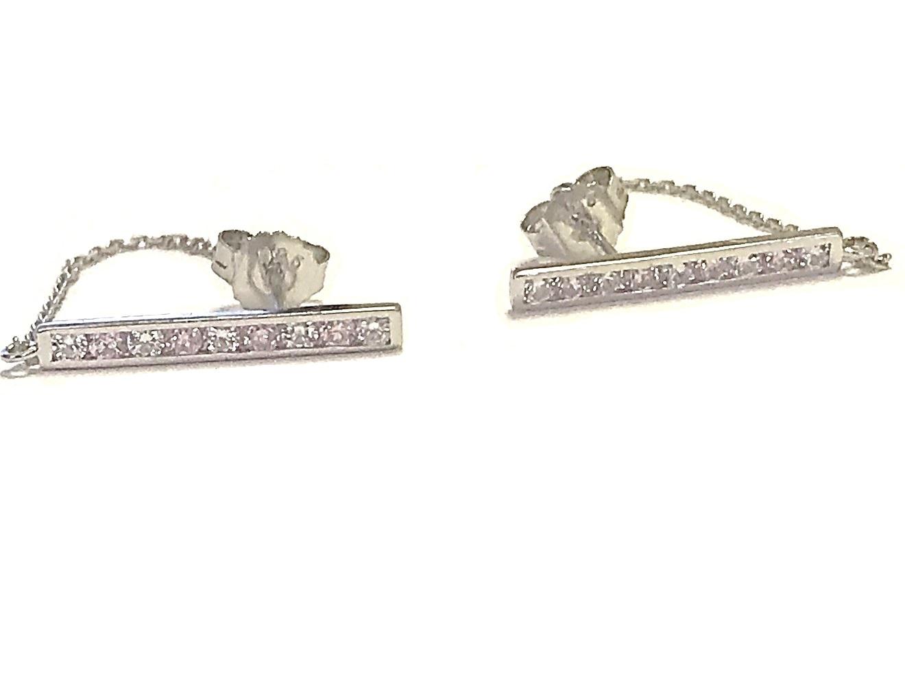 Boucles d'oreilles barre et chaîne - Argent sterling & Zircons cubiques (roses et blancs)