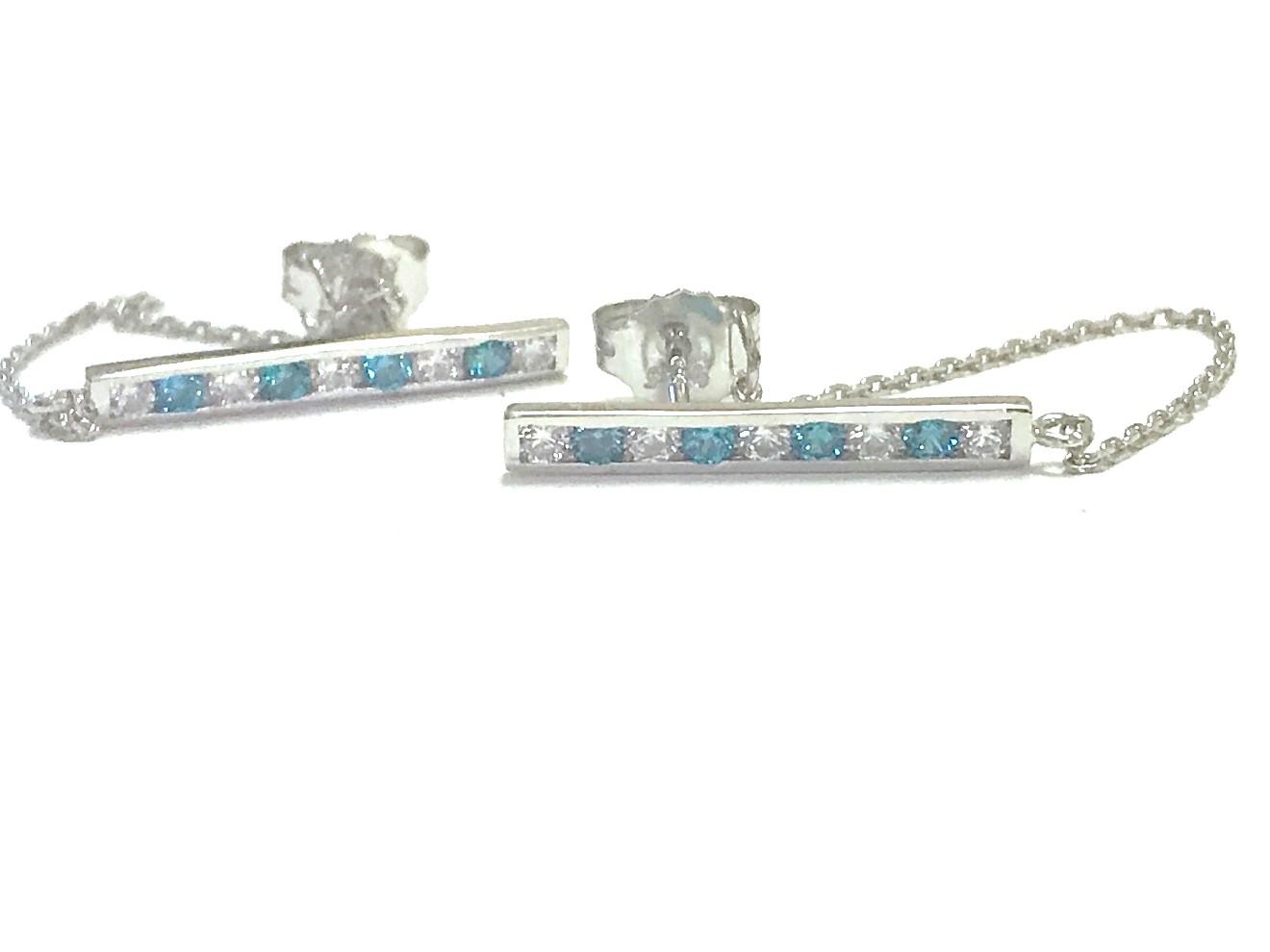 Boucles d'oreilles barre et chaîne - Argent sterling & Zircons cubiques (bleus et blancs)