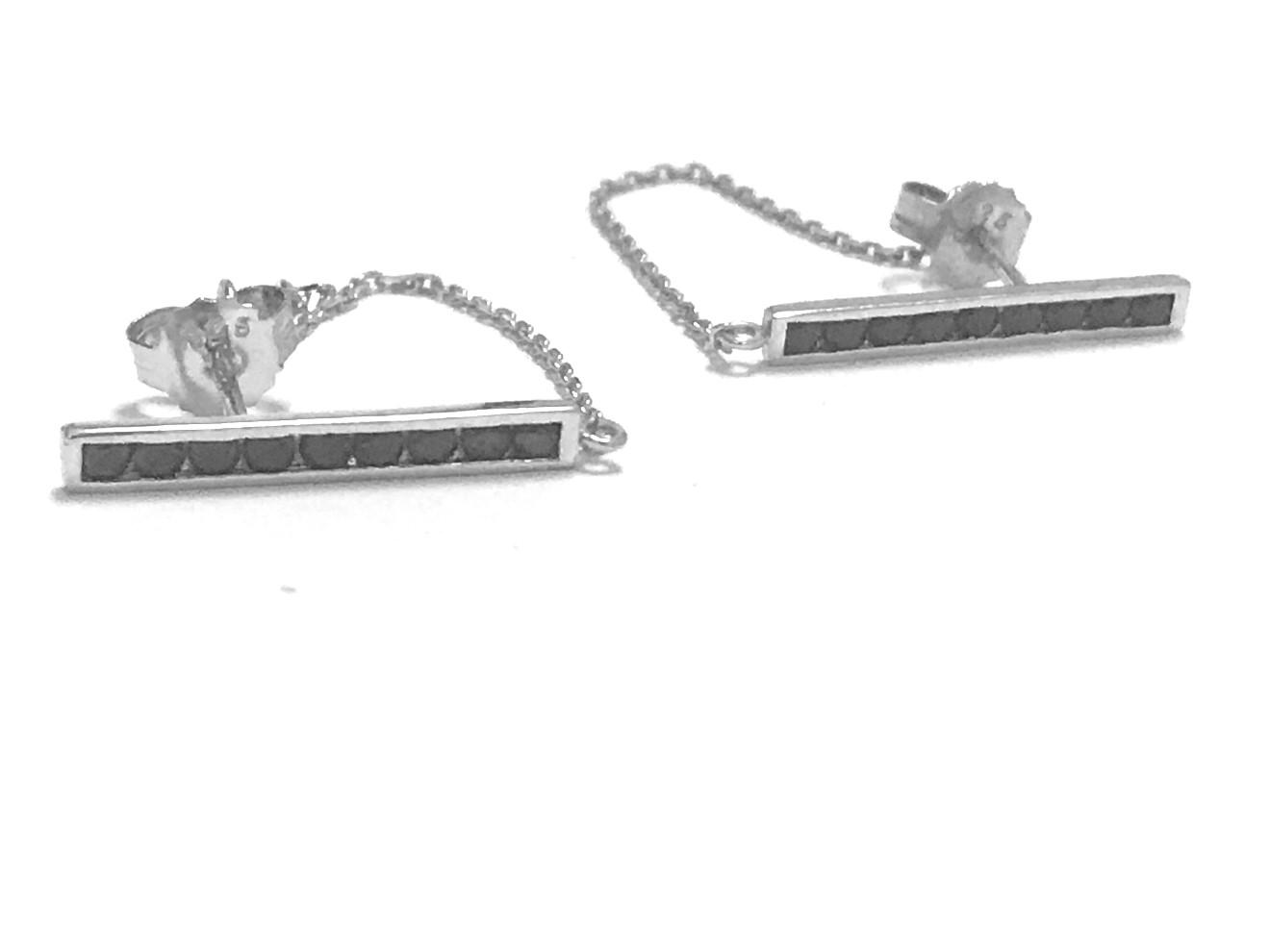 Boucles d'oreilles barre et chaîne - Argent sterling & Zircons cubiques noirs